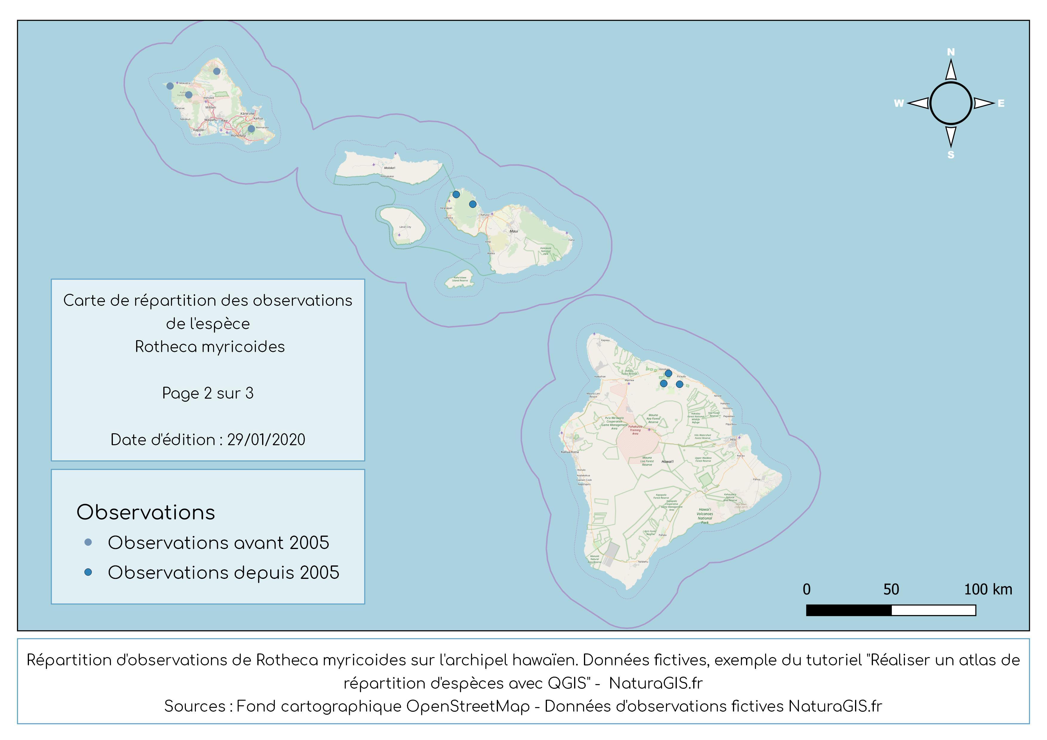 atlas de répartition d'espèces QGIS
